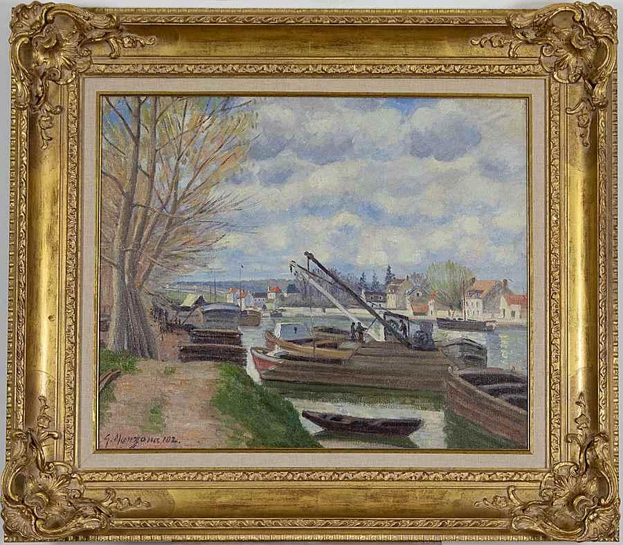 Péniches sur la Seine - Georges Manzana Pissarro (1871 - 1961)