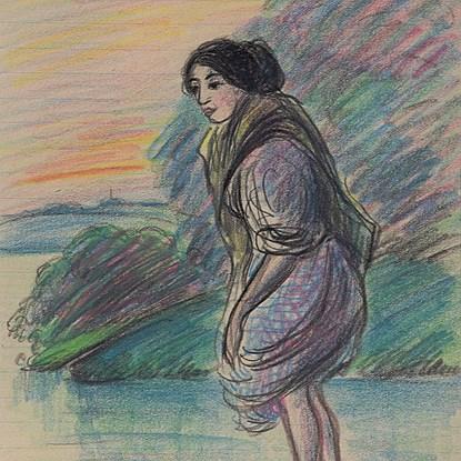 Woman Paddling - Félix Pissarro (1874 - 1897)