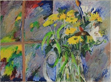 Hugues Pissarro dit Pomié - Bouquet à la Fenêtre