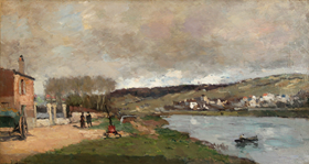 Albert Lebourg - Village et Promeneurs en Bord de Seine