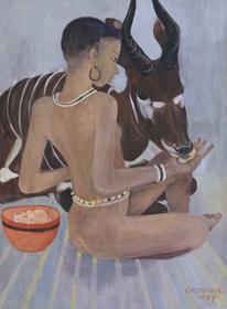 Orovida Pissarro - Dinka with a Bongo