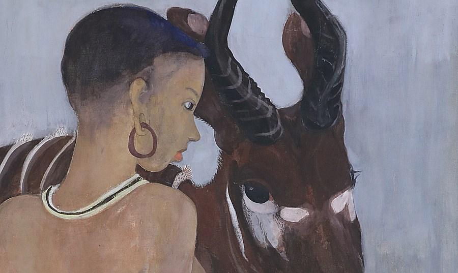 Dinka with a Bongo - Orovida Pissarro (1893 - 1968)
