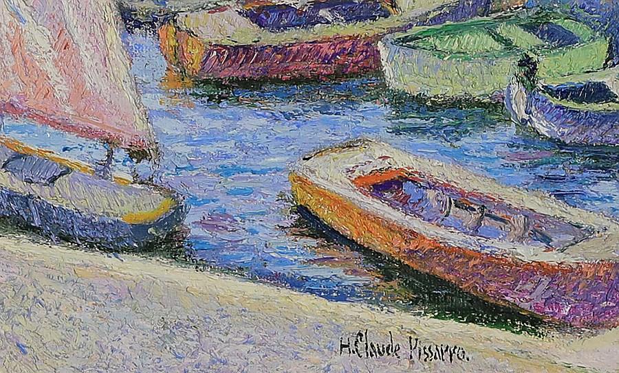 Les Baigneurs de Juillet (St Aygulf dans le Var) - H. Claude Pissarro (b. 1935 - )