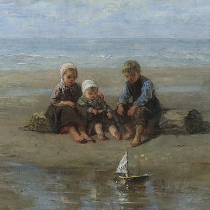 Three Children by the Beach - Jozef Israëls (1824 - 1911)