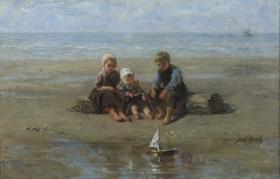 Jozef Israëls - Three Children by the Beach