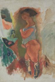 Jules Pascin - Femme en Chemise Bleue