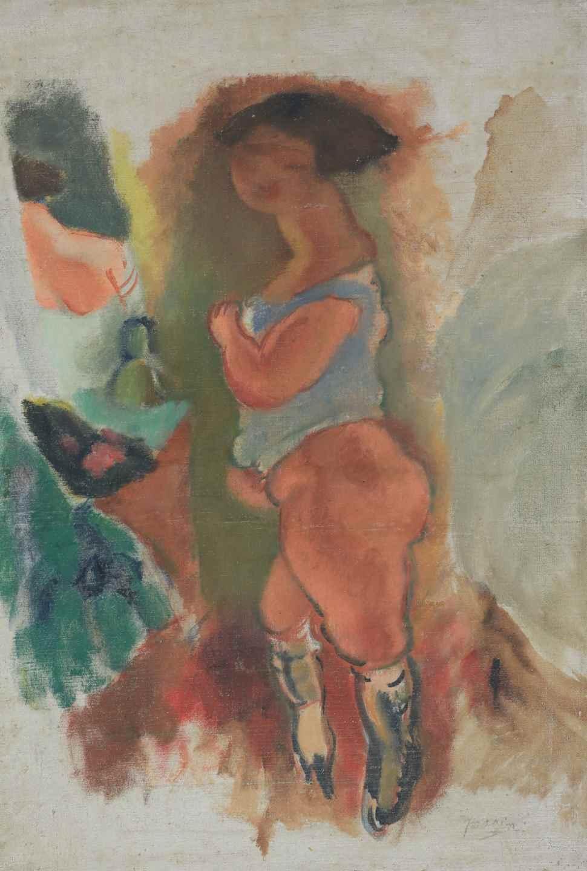 Femme en Chemise Bleue - Jules Pascin (1885 - 1930)