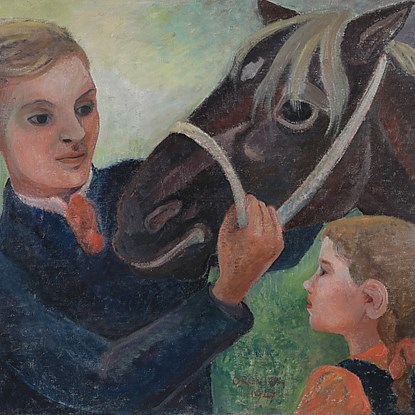 Father, Daughter and Horse - Orovida Pissarro (1893 - 1968)