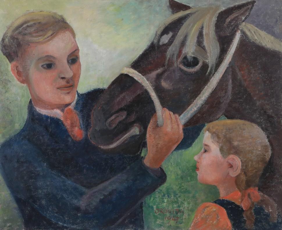 Father, Daughter and Horse - Orovida Pissarro (1893 - 1968)