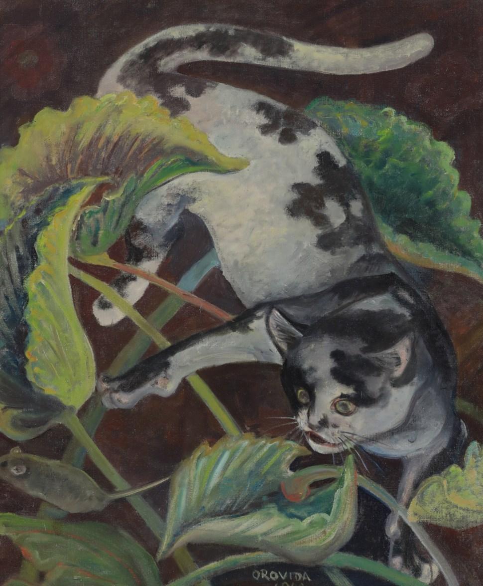 Cat and Mouse - Orovida Pissarro (1893 - 1968)