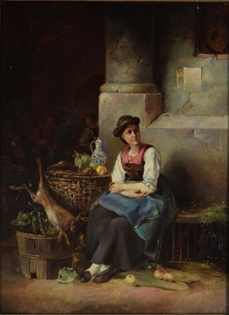 German School - Girl with Fruit and Hare