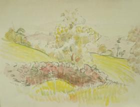 Orovida Pissarro - Trees in Yellow Landscape, Devon