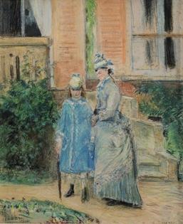 Camille Pissarro - Deux Jeunes Filles dans un Jardin