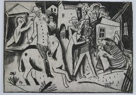 Béla Kádár - Figures in a Village