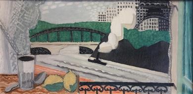 Louis Marcoussis - La Seine et la Tour Eiffel, vue d'un balcon