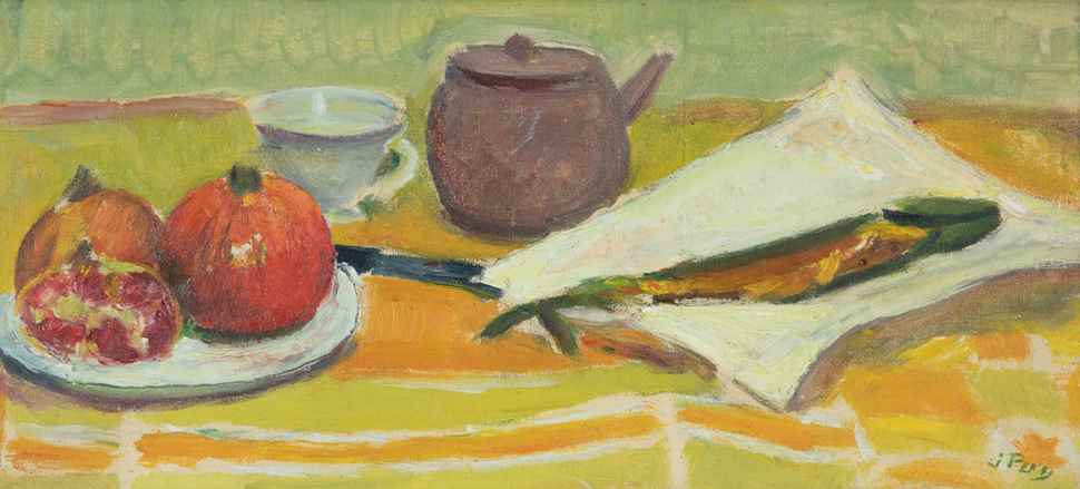 Still Life with Fish and Fruit with a Tea Pot and Cup - Jean  Puy (1876 - 1960)