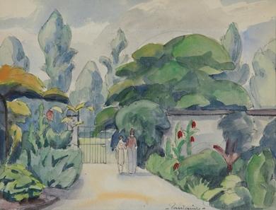 Paulémile Pissarro - Deux Personnages dans un Jardin
