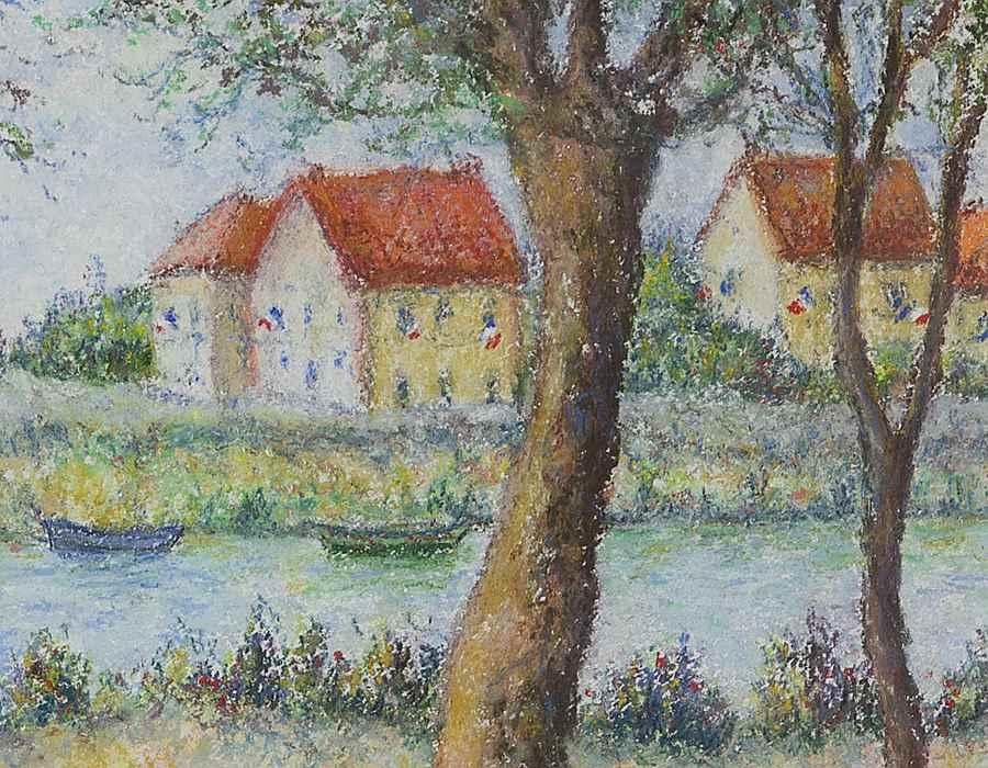 Le 14 juillet au bord de la Seine - Lélia Pissarro, Figurative (b. 1963 - )
