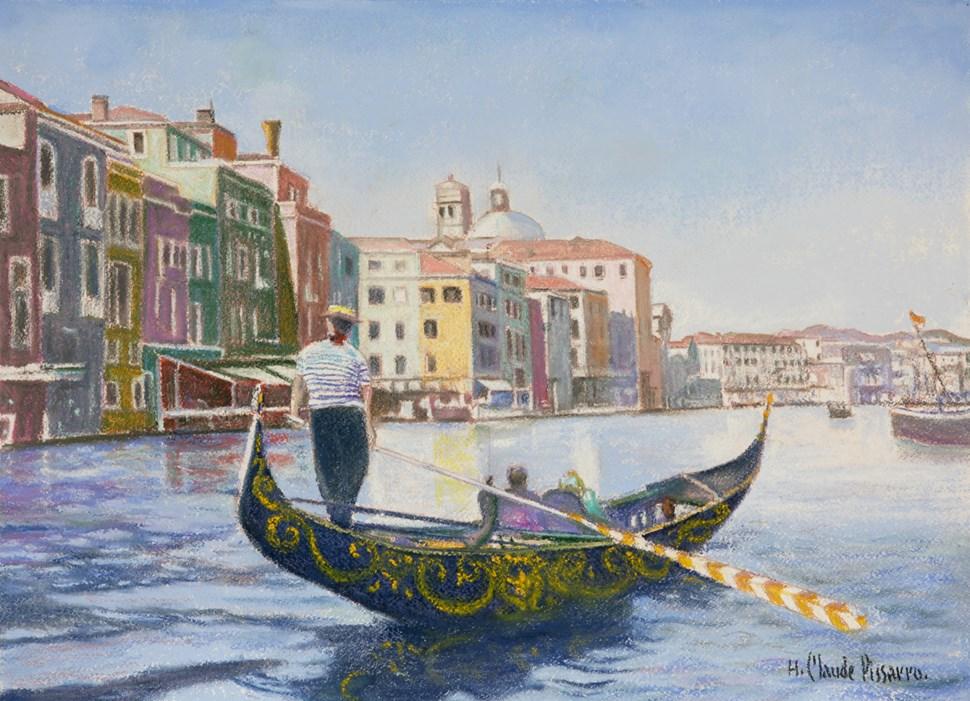 La Gondole de Pedro, Venise - H. Claude Pissarro (b. 1935 - )