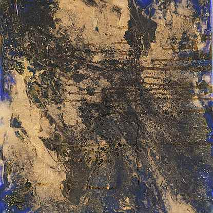 Abstract Composition in Blue & Gold 2 - Lélia Pissarro, Contemporary (b. 1963)