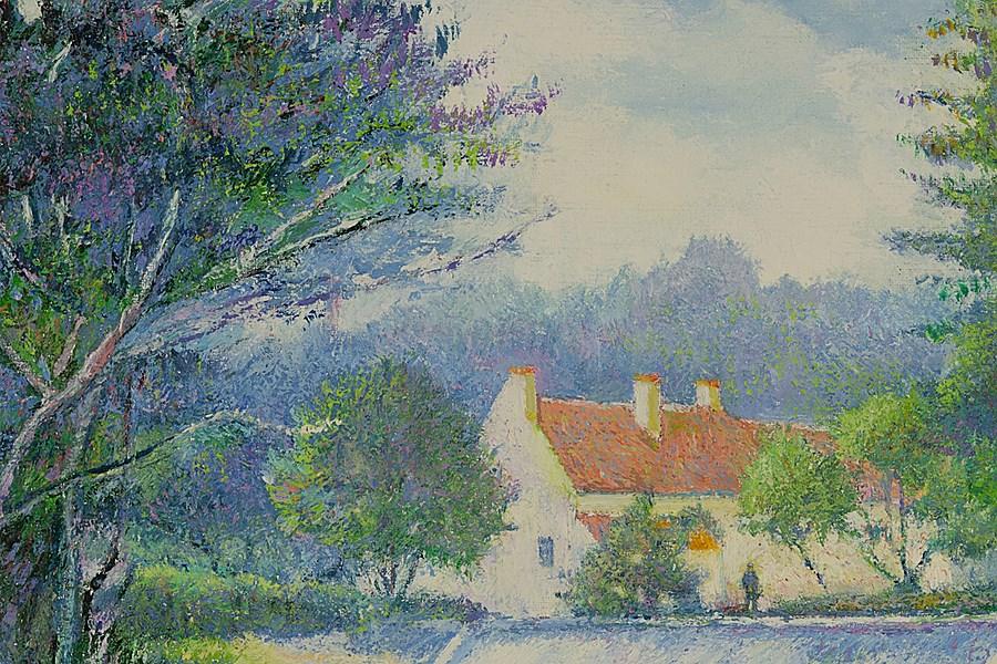 Le Père Heudiard en Barque au Barrage du Vey - H. Claude Pissarro (b. 1935 - )