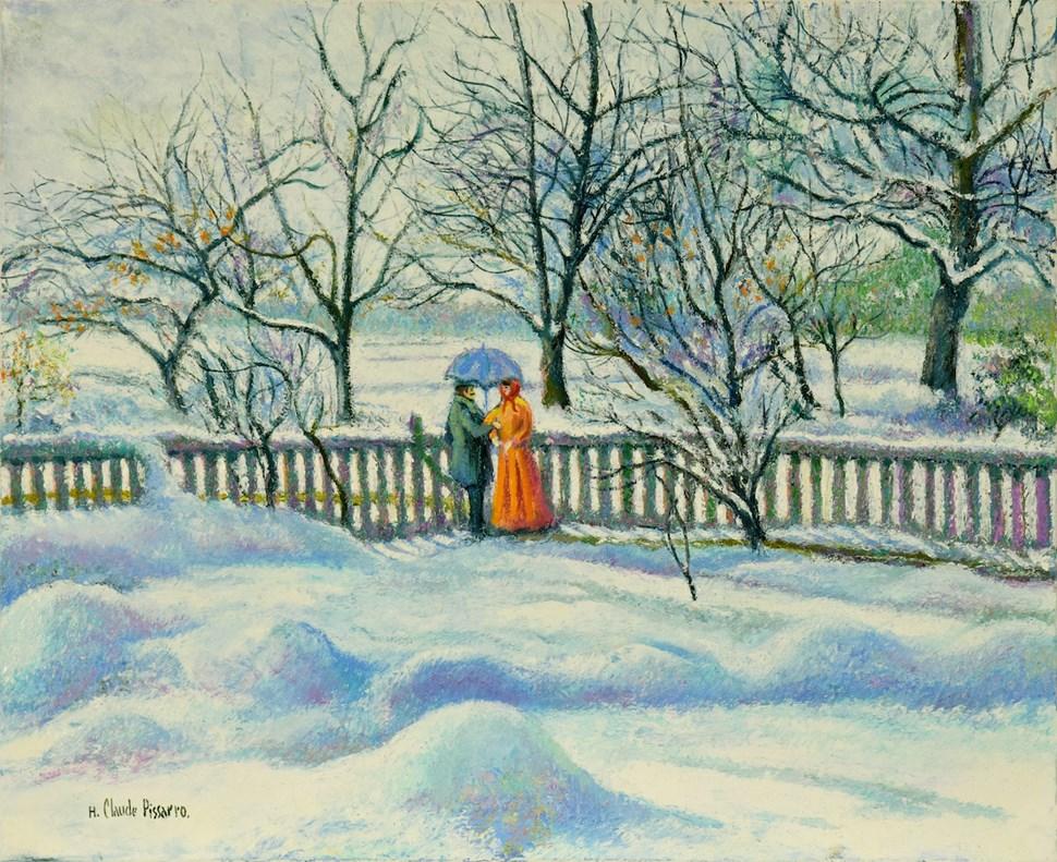 Neige au Manoir de Miettes (Le Parapluie Bleu) - H. Claude Pissarro (b. 1935 - )