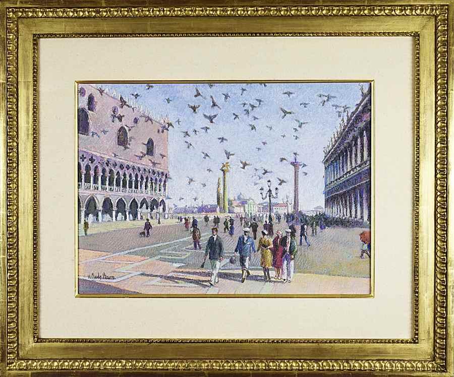 Les Pigeons de Venise - H. Claude Pissarro (b. 1935 - )