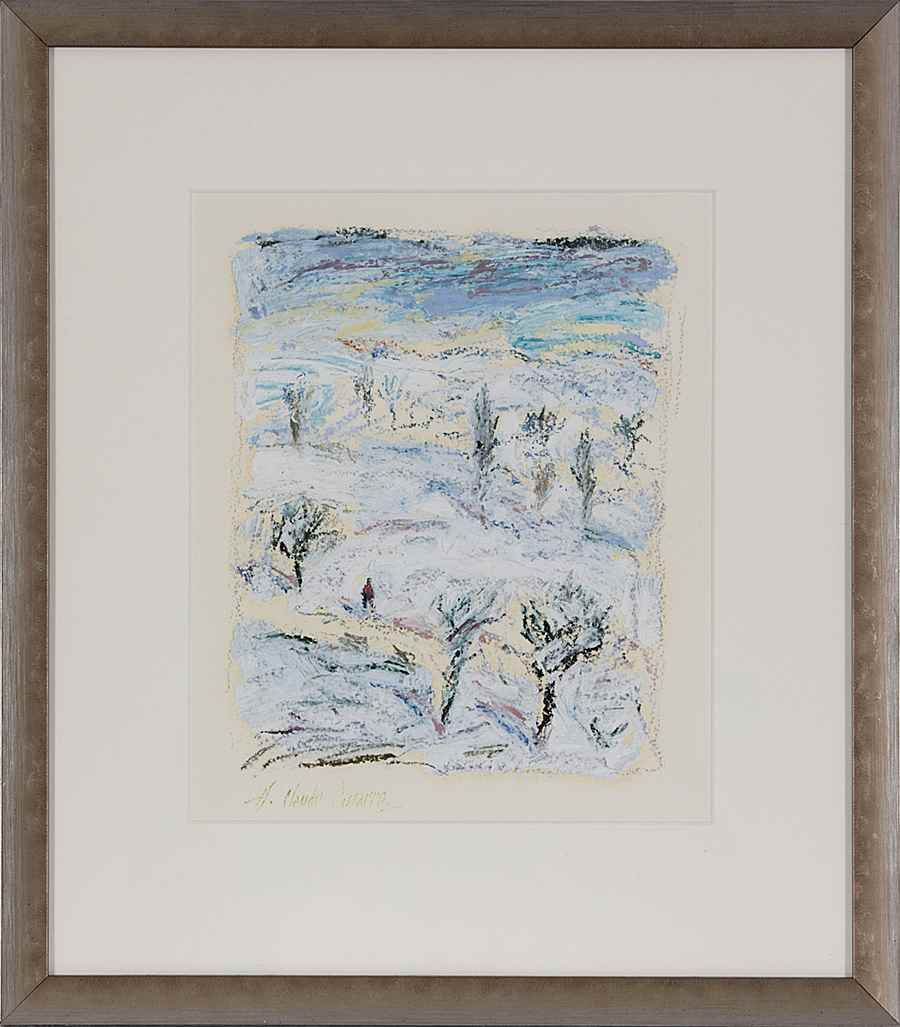 Promenade dans la Neige - Hugues Pissarro dit Pomié (b. 1935 - )