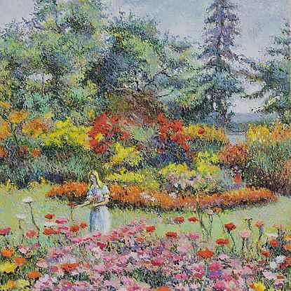 Lélia au Jardin - H. Claude Pissarro (b. 1935 - )