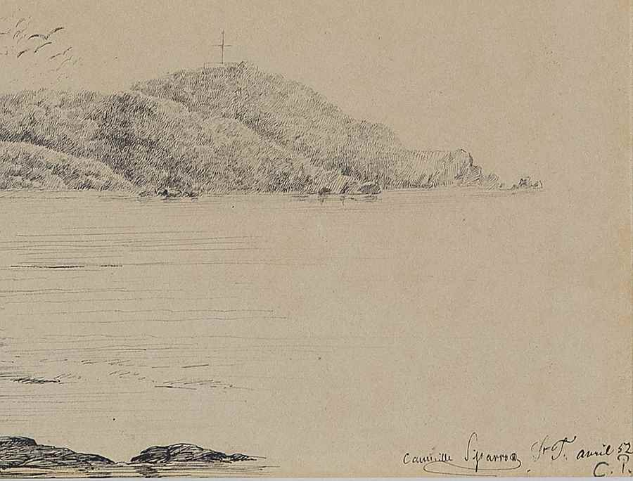 Deux femmes en bord de mer, St Thomas - Camille Pissarro (1830 - 1903)