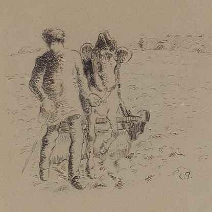 Jeune Paysan Roulant un Champ - Camille Pissarro (1830 - 1903)