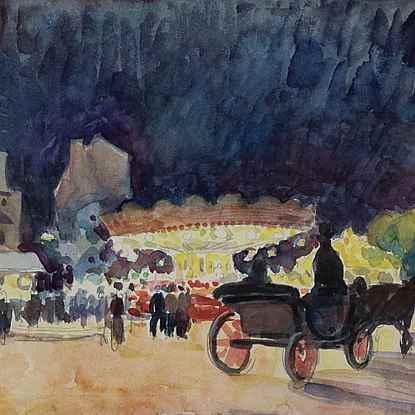Calèche devant un Manège - Ludovic-Rodo Pissarro (1878 - 1952)