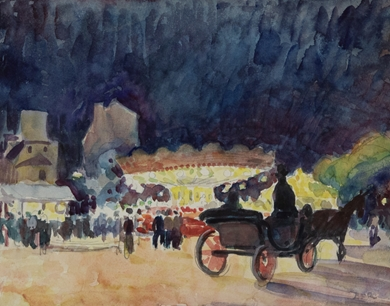 Ludovic-Rodo Pissarro - Calèche devant un Manège