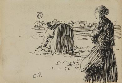 Camille Pissarro - Deux paysannes dans un champ