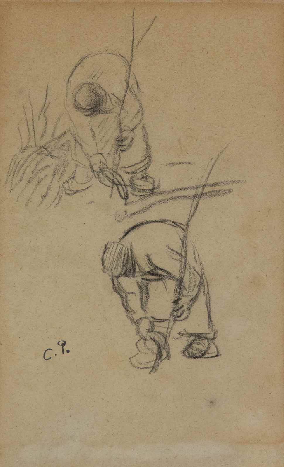 Two studies of a male peasant working - Camille Pissarro (1830 - 1903)
