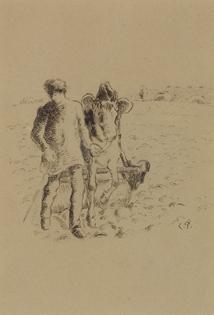 Camille Pissarro - Jeune Paysan Roulant un Champ
