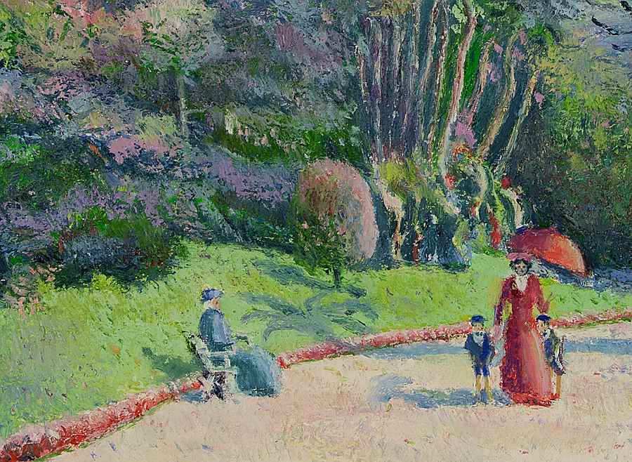 L'Heure de la Promenade (Monte-Carlo) - H. Claude Pissarro (b. 1935 - )