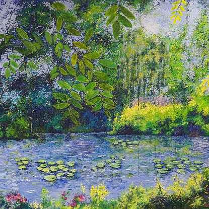 Water lilies at Giverny - Lélia Pissarro, Figurative (b. 1963 - )