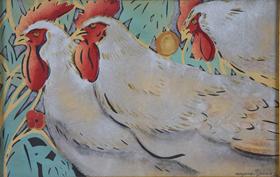 Georges Manzana Pissarro - Three Cockrels