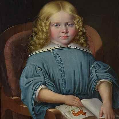 Portrait of a Boy with Book - Martin Jablonski (1801 - 1870)