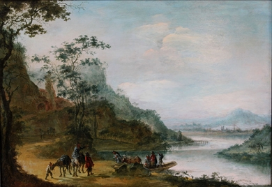 Gillis Neyts (Attributed to) - A wooded landscape with figures crossing a river