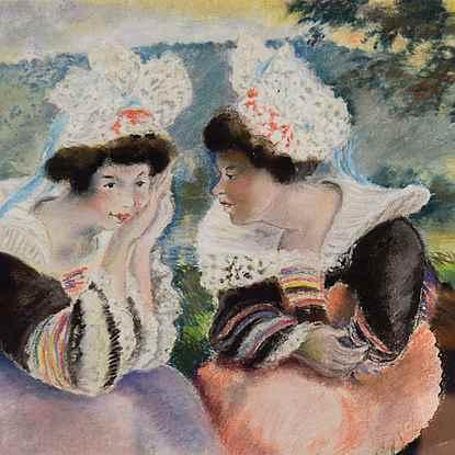 River landscape with two Breton women - Georges Manzana Pissarro (1871 - 1961)
