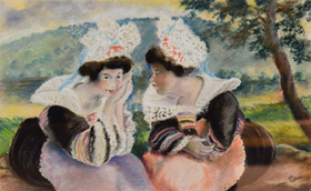 Georges Manzana Pissarro - River landscape with two Breton women