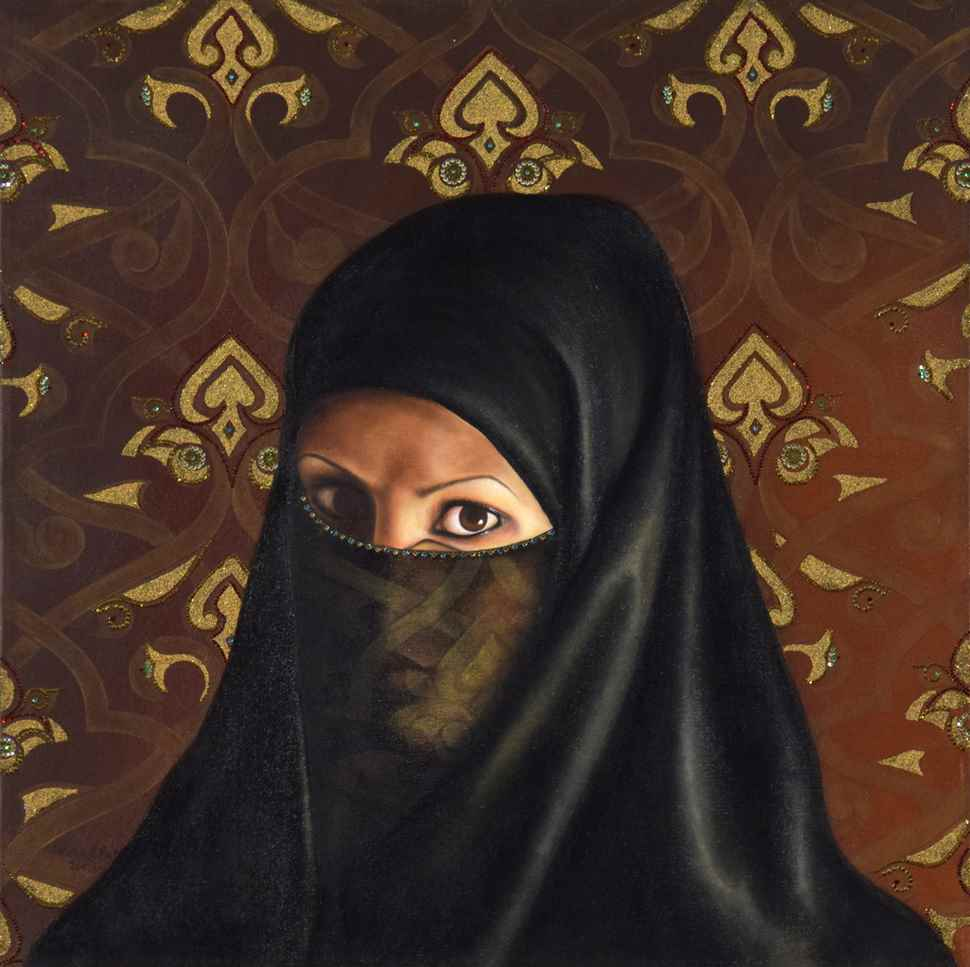 Self Portrait Under a Veil - Fatma Abu Rumi (b. 1977 - )