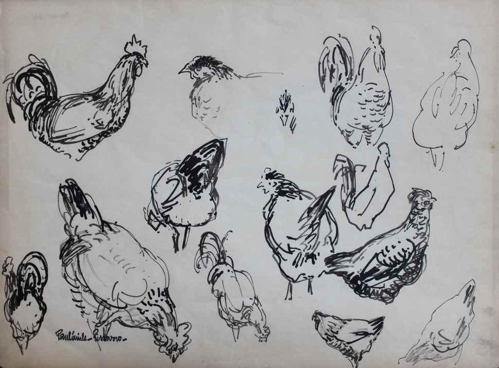 Etude de Poules - Paulémile Pissarro (1884 - 1972)