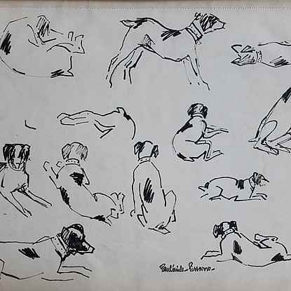 Etude de Chiens - Paulémile Pissarro (1884 - 1972)