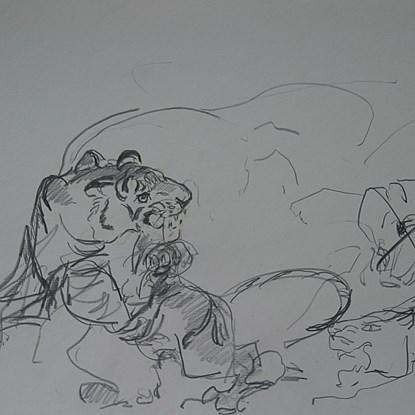 Pouncing Tiger - Orovida Pissarro (1893 - 1968)