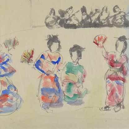 Geisha Girls -  Emmanuel Mané-Katz (1894 - 1962)