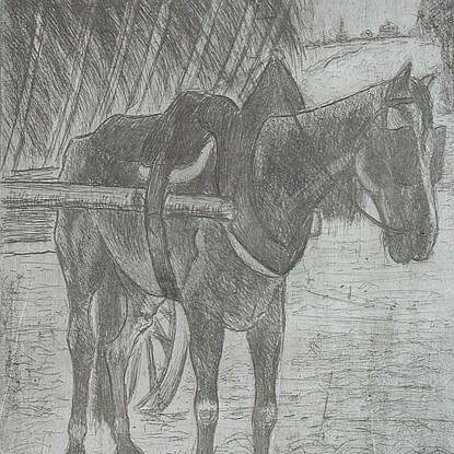 Horse Pulling Hay Cart - Félix Pissarro (1874 - 1897)