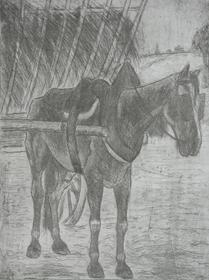 Félix Pissarro - Horse Pulling Hay Cart